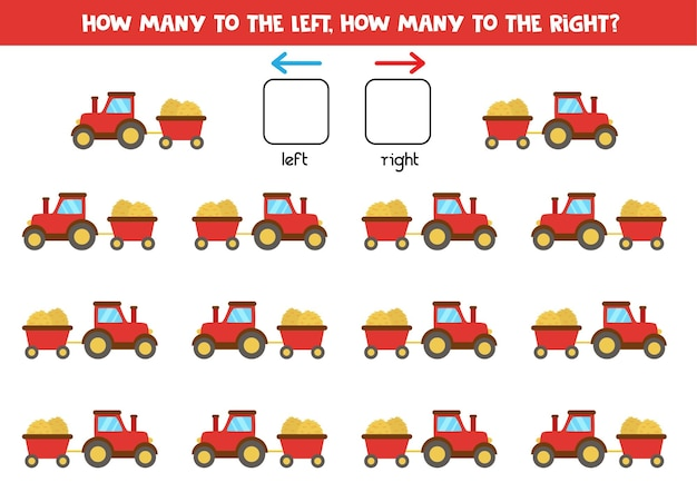 A sinistra oa destra con trattore rosso cartone animato con ehi e rimorchio. gioco educativo per imparare a destra ea sinistra.