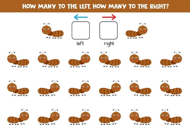 A sinistra oa destra con una formica carina. gioco educativo per imparare a destra ea sinistra.