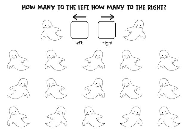 Sinistra o destra con un simpatico fantasma di halloween. foglio di lavoro logico per bambini in età prescolare.
