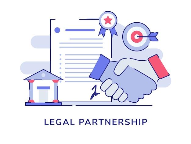 Fondo isolato bianco della scheda di destinazione di precisione del tribunale di accordo della lettera della stretta di mano del concetto di partenariato legale