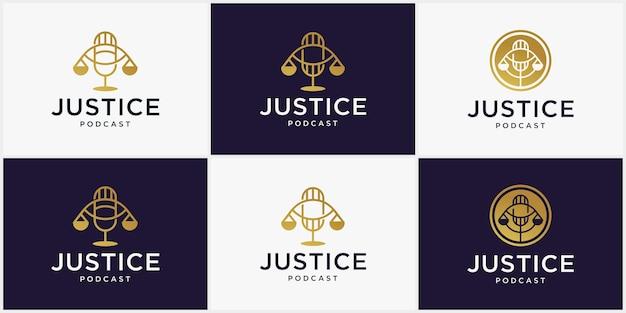 Concetto di logo podcast legale, per eventi legali e discussioni legali, immagine del design del logo dello studio legale podcast legale, consulente podcast in stile moderno