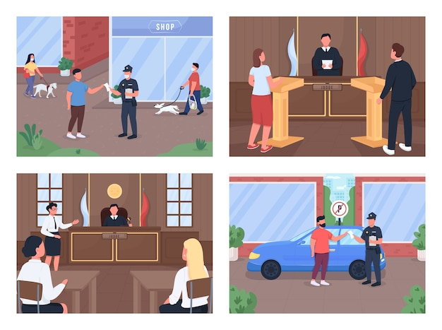 Set di illustrazioni a colori piatto procedura legale processo con avvocato e giudice l'ufficiale di polizia dà penalità personaggi dei cartoni animati d delle forze dell'ordine e del testimone con interni del tribunale