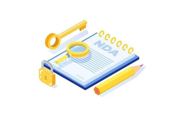 Restrizioni legali, contratto di non divulgazione o icona nda. illustrazione vettoriale isometrica.