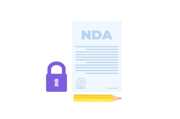 Restrizioni legali, contratto di non divulgazione o icona nda. illustrazione vettoriale.