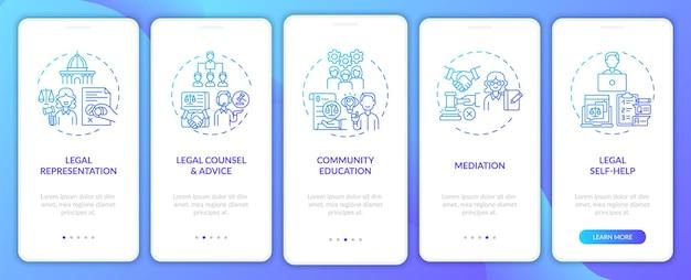 Categorie di servizi legali onboarding nella schermata della pagina dell'app mobile