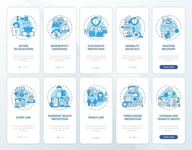 Schermata della pagina dell'app per dispositivi mobili di onboarding dei servizi legali con concetti