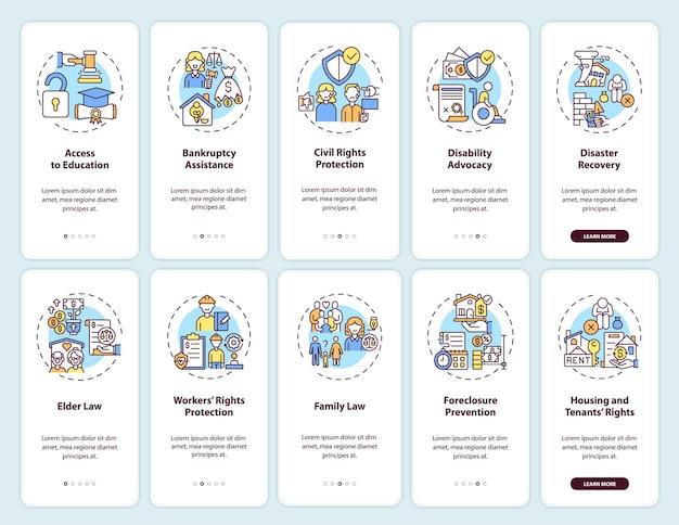 Servizi legali onboarding schermata della pagina dell'app mobile con concetti