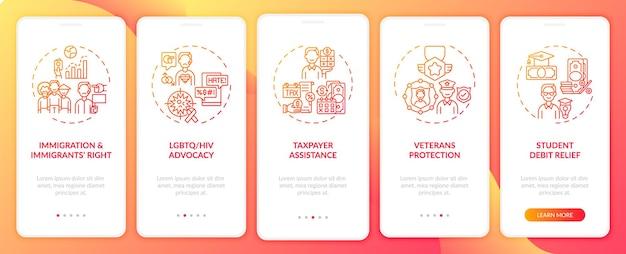 Tipi di servizi legali onboarding schermata della pagina dell'app mobile con concetti. procedura dettagliata per l'eliminazione del debito studentesco 5 passaggi istruzioni grafiche.