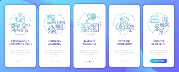 Tipi di servizi legali onboarding nella schermata della pagina dell'app mobile
