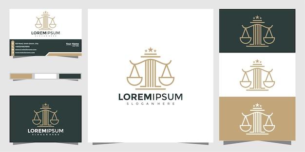 Simbolo legale di giustizia. studi legali, studio legale, servizi di avvocato, modello di progettazione di logo di lusso e biglietto da visita