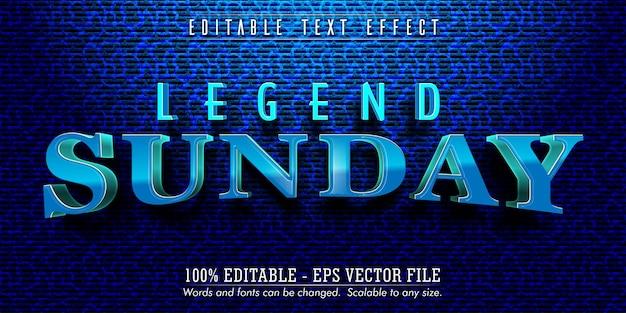 Testo della domenica della leggenda, effetto di testo modificabile in stile blu della legenda