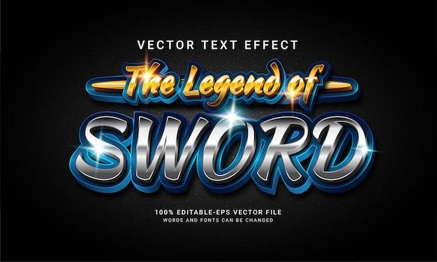 La leggenda della spada 3d effetto stile testo modificabile