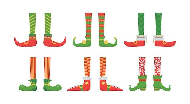 Gambe elfo di natale in scarpe con campane. Vettore Premium