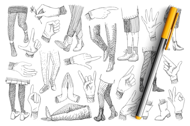 Gambe e mani doodle insieme. raccolta di mani umane disegnate a mano che esprimono pace, ok e che puntano a direzioni e gambe diverse in calzature camminando e in piedi isolato
