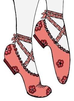 Gambe e scarpe di una giovane illustrazione della ballerina