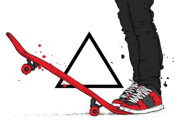 Gambe in scarpe da ginnastica e uno skateboard.