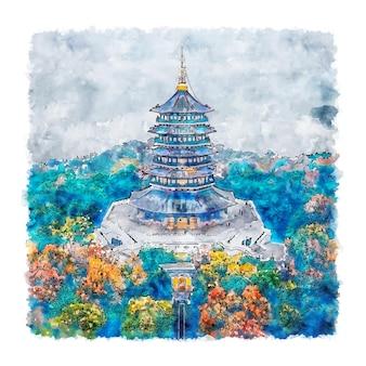 Illustrazione disegnata a mano di schizzo dell'acquerello della cina di leifeng pagoda