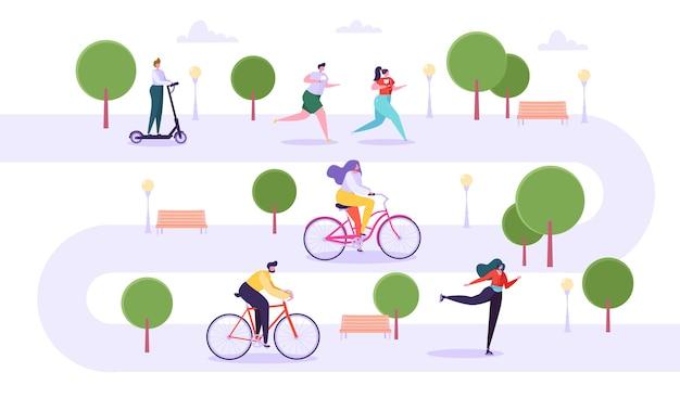 Concetto di attività all'aperto per il tempo libero. personaggi attivi che corrono nel parco, uomo e donna in sella alla bicicletta, ragazza che pattina, ragazzo su scooter.