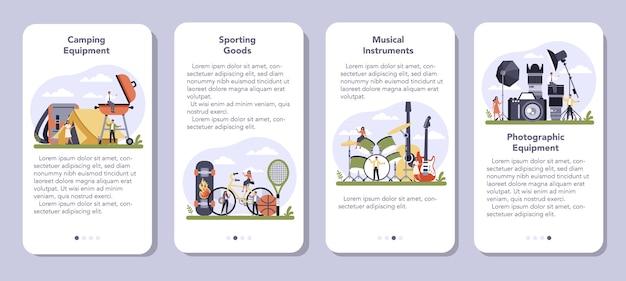 Set di banner per applicazioni mobili per la produzione di prodotti per il tempo libero