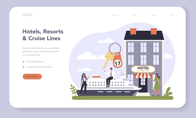 Modello web o pagina di destinazione del settore dei servizi per il tempo libero. industria dell'intrattenimento. hotel, resort e linee di crociera. idea di vacanza in appartamento confortevole.