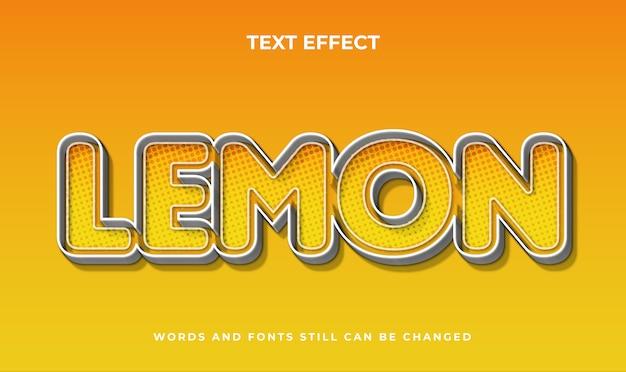Effetto di testo modificabile 3d di limone. stile di testo elegante