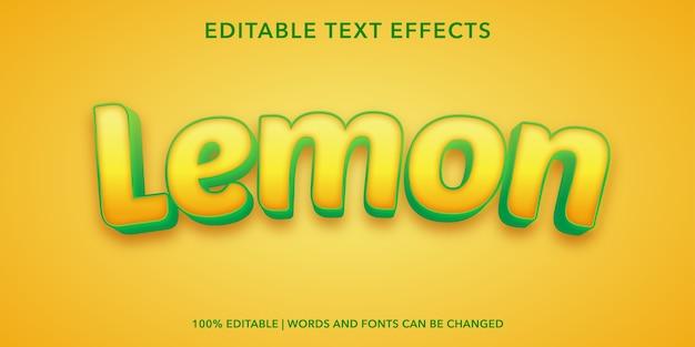 Effetto di testo modificabile stile limone 3d