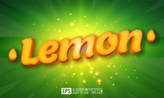 Modello di effetto di stile modificabile di testo 3d di limone