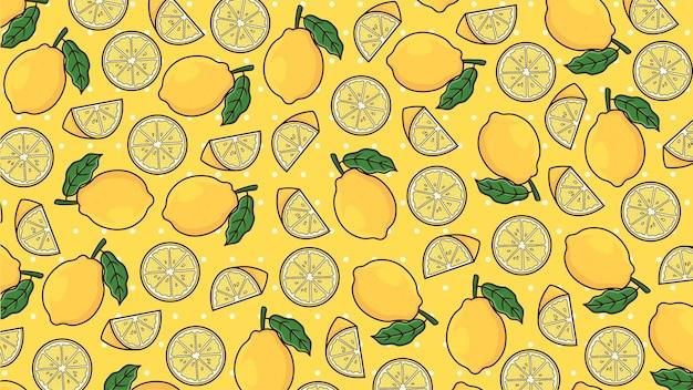 Vettore del modello del fondo del limone isolato