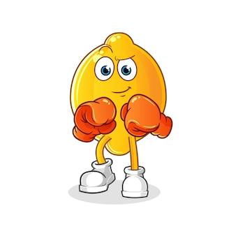 Personaggio pugile di limone. mascotte dei cartoni animati