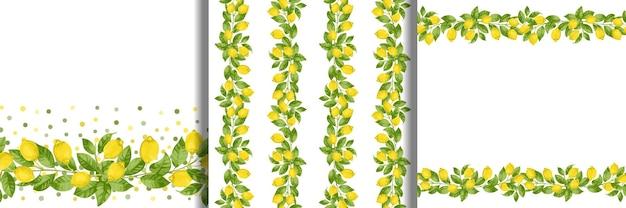Set di bordi e motivo senza cuciture a strisce di brunch al limone