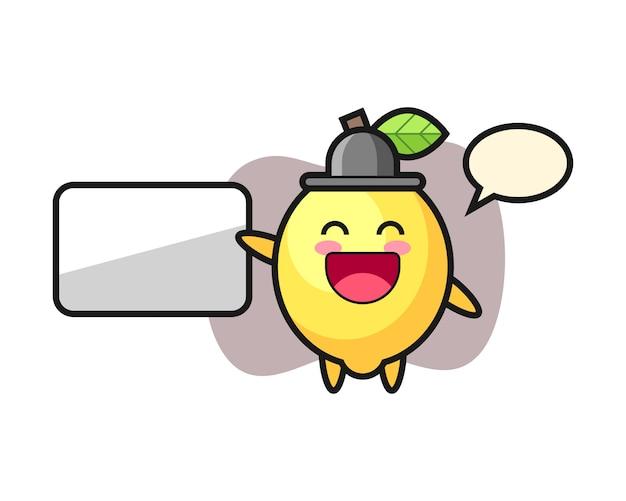 Illustrazione del fumetto del limone che fa una presentazione