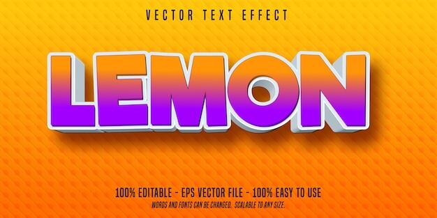 Effetto di testo modificabile in stile cartone animato di limone