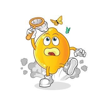 Illustrazione della farfalla di cattura del limone. carattere