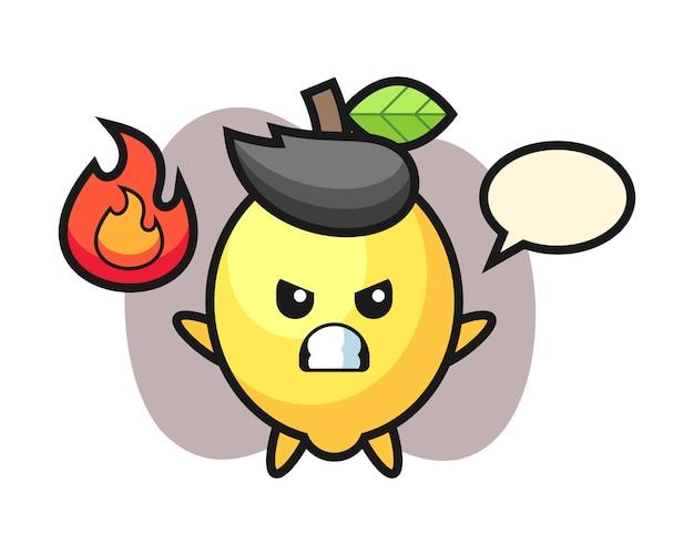 Personaggio dei cartoni animati di limone con gesto arrabbiato