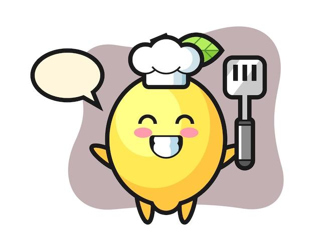 L'illustrazione del carattere del limone come cuoco sta cucinando