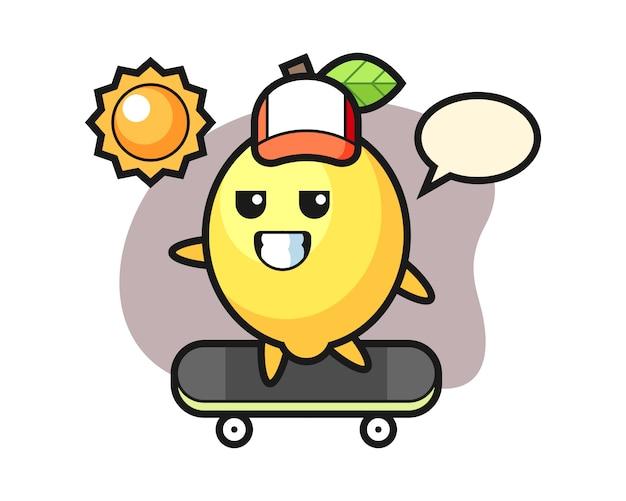 Illustrazione di carattere limone cavalcare uno skateboard