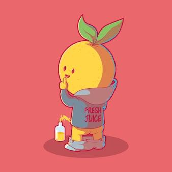 Carattere di limone che fa pipì in una bottiglia illustrazione. frutta, mascotte, concetto divertente.