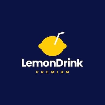Illustrazione dell'icona di vettore del logo della bevanda al limone