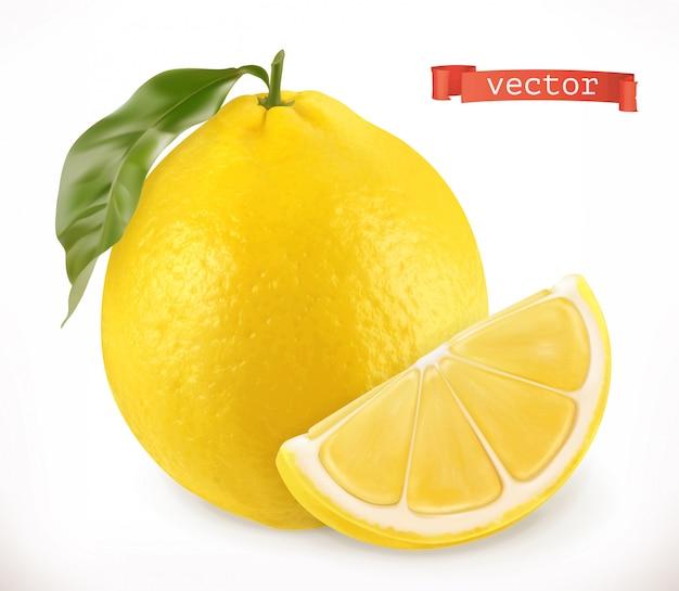 Limone. icona realistica 3d di frutta fresca