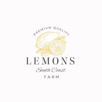 Segno astratto di lemon fruit farms, simbolo o modello di logo. limoni disegnati a mano con foglie schizzo con retro tipografia. emblema di lusso vintage.