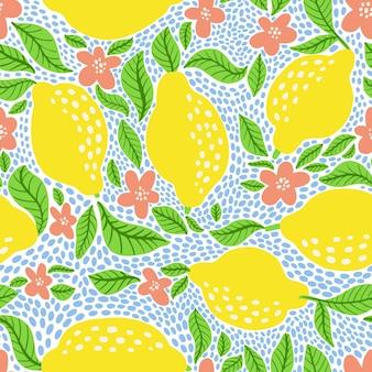 Modello di frutta al limone. seamless pattern di agrumi estivi con limoni, foglie e fiori in fiore. stampa astratta tropicale in colori vivaci. illustrazione vettoriale. stampa vettoriale brillante per tessuto o carta da parati.