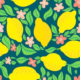 Modello di frutta al limone. seamless pattern di agrumi estivi con limoni, foglie e fiori in fiore. stampa astratta tropicale su sfondo blu scuro. illustrazione vettoriale. stampa vettoriale per tessuto, carta da parati