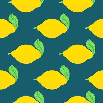 Modello di frutta al limone. seamless pattern di agrumi estivi con limoni, foglie. stampa astratta tropicale su sfondo blu scuro. illustrazione vettoriale. stampa vettoriale brillante per tessuto o carta da parati.