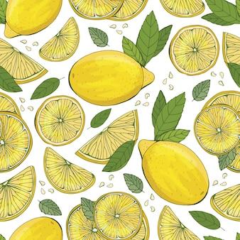 Reticolo senza giunte della frutta di limone fashion design. stampa di alimenti per abiti, tende o asciugamani da cucina. carta da parati disegnata a mano. sfondo di schizzo di agrumi. motivo per tessuti, carta,