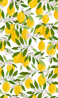 Modello senza cuciture di frutti di limone con fiori e foglie