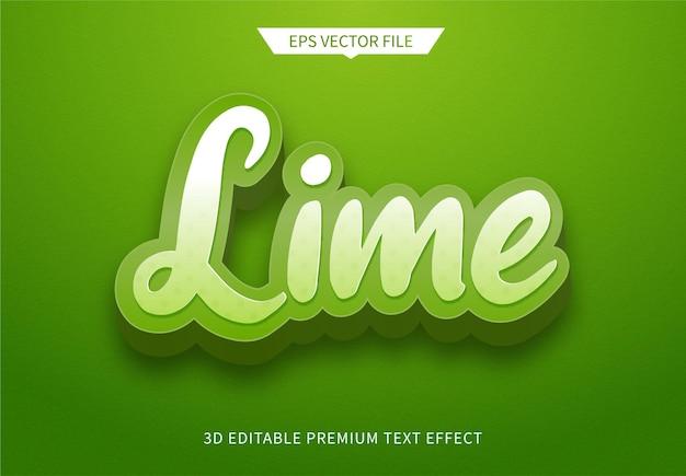 Effetto di stile di testo modificabile 3d verde limone