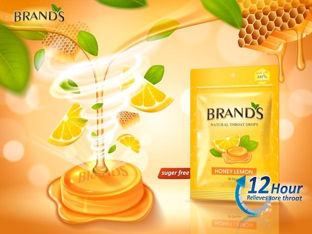 Gocce di gola al gusto di miele e limone con foglie ed elementi a nido d'ape, illustrazione di sfondo arancione