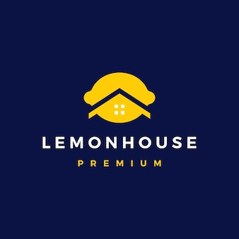 Illustrazione dell'icona di vettore del logo immobiliare dell'architettura del mutuo per la casa della limonaia