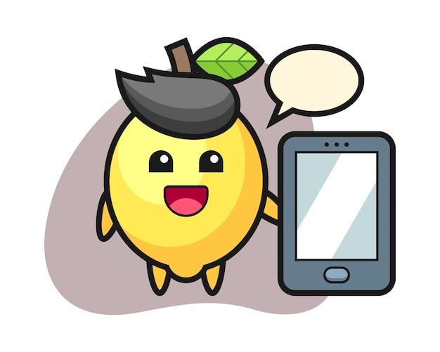 Fumetto dell'illustrazione del limone che tiene uno smartphone