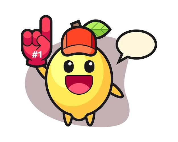 Fumetto dell'illustrazione del limone con il guanto dei fan di numero 1
